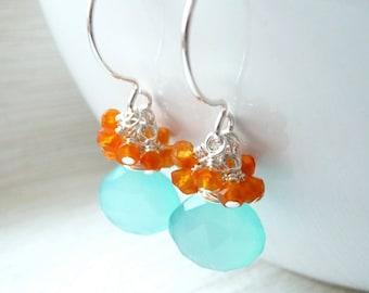 Aqua Blue Chalcedony Earrings, Carnelian Cluster Earrings, Dangle Drop Earrings, Sterling Silver Earrings, Gift for Her, Under 50