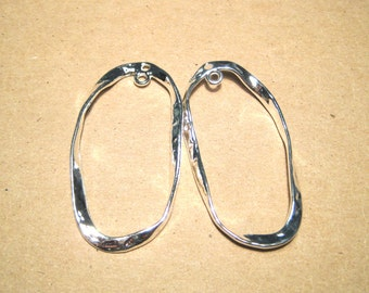 4pcs Large Bright Silver Plated Oval Hoop Links Charms Pendants