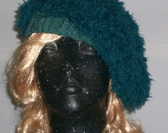 HAT WOMEN KNITTED  Woman   Fuzzy Beret Teal Color Cute  Slouchy Head cover