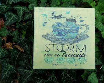 wooden  tea box /tea storage box/ storm in a teacup