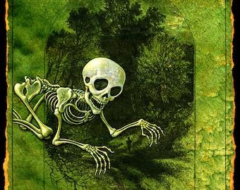 Halloween skeleton monster art print, Gashadokuro: Giant skeleton, Macabre painting, Japanese Yokai, Asian myth, Gothic art, Dark forest art