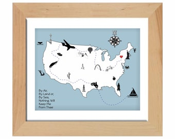 US Map, Travel Map of Love, Graphic Iconic US Map, By Air By Land By Sea