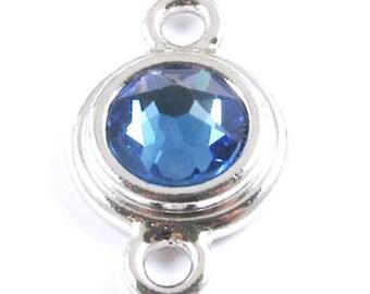 TierraCast Silver Birthstone Link -September Sapphire Blue Swarovski Crystal (1 Piece)