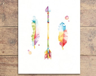 Feather Nursery Decor - Arrow and Feather Art - Arrow Painting - Nursery Artwork - Baby Decor - Kids Wall Art