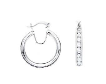 Silver Channel Set Cz Hoop Earrings