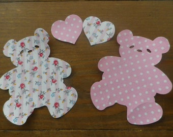 2 Large Iron On fabric  Applique TEDDY BEARS with Hearts.