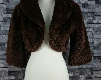 Vintage Halter Faux Fur Coat - Brown - Size 6