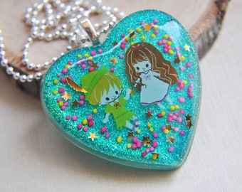 Resin Necklace, Heart Necklace, Glitter Necklace, Blue Heart Necklace, Pink Heart Necklace, Sprinkle Necklace, Candy Necklace, Birthday gift