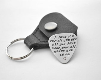 Personalized guitar pick - Father's Day - Groomsmen Gift - Groom Gift - Anniversary Gift - hand stamped stainless steel