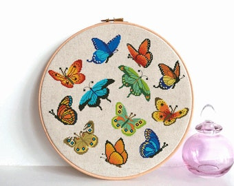 Butterfly cross stitch pattern pdf back stitch Instant Digital Download