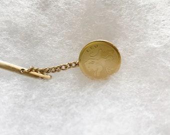Vintage Leo Zodiac Tie Tack or Pin, Gold Tone