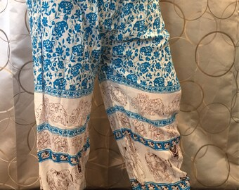 Blue elephant design thai pants.