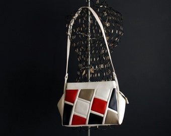 Vintage Faux Leather White Handbag With Large Color Block Squares in Red Black and Tan Vinyl Ralfeaux Purse