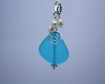 Blue Sea Glass Necklace Seaglass Necklace Sea Glass Jewelry Wedding Necklace Bridal Necklace Bridesmaid Beach Jewelry Seaglass Jewelry 008