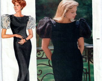 Evening Dress Pattern,1980s Designer Rimini Butterick 4463, long and short Dress in sizes 8, 10 and 12