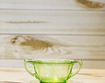 Green Vaseline Glass Sugar Bowl
