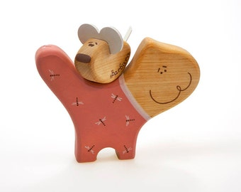 Personalized Wooden Toy Cat and Mouse Pink