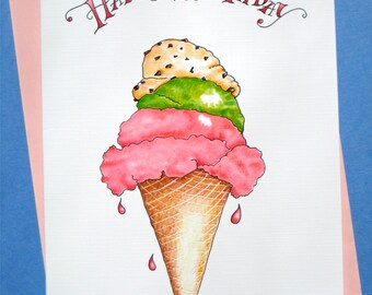 Ice Cream Birthday Card - Foodie Birthday Card - Whimsical Birthday Card