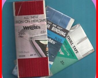ON SALE Vintage Seam Binding Twill Tape Hem Tape 1960's to 1980's 3 Pkg Red White Blue