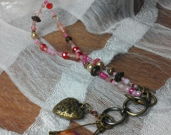 Long Funky Fun Pearly Pink Necklace