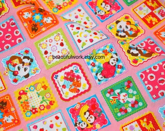 Animal fabric 50 cm by 53 cm or 19.6 by 21 inches  fat quarter PRE CUT FABRIC nc44