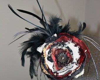 Steampunk Wedding Birdcage Veil Fascinator Tattered Lace Burlap Chiffon Flower Victorian Button