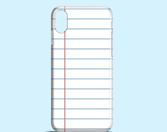 Lined Notebook phone case / retro iPhone X / iPhone 8 / iPhone 7 / iPhone 7 Plus / iPhone 5/5S / iPhone se / Samsung Galaxy S7 / Galaxy S6