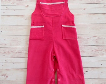 Pink with White lace trim Overalls / dungarees for little girls size 1 & 2
