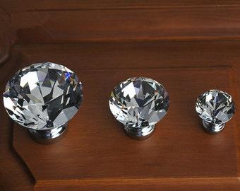 Glass Knobs Clear Crystal Knob Drawer Knobs Dresser Pulls Handles Cabinet Knob Sparkly Furniture Decorative Knobs Hardware Silver