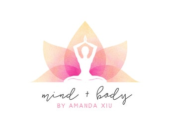 Logo Design Branding Package Premade Graphics Custom Yoga Text Zen Pink Purple Watercolor Lotus Flower