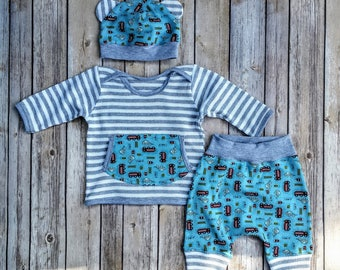 Baby Boy Cotton Outfit,Infant Boy Shower Gift, Newborn Cotton Gift Set, Infant Boy Harem Pant Set, Baby Hat With Ears Set, Baby Boy Tee