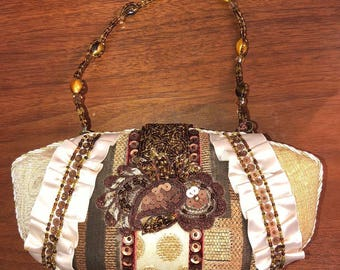 Vintage clutch with handles and crossbody strap