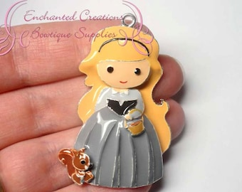 """2"""" Briar Rose With Woodland Squirrel Friend Inspired Charm, Chunky Pendant, Keychain, Bookmark, Zipper Pull, Chunky Jewelry, Purse Charm"""