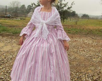 Historical American Modest 1800s Dress Costume American Colonial Girl -Stripe Felicity-  Child Size