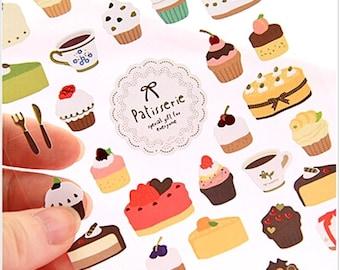 Korea Kawaii CUP CAKE Dessert Stickers. Daily Diary Transparent Deco Stickers. For Filofax KIKKI.K Erin Condren Life Planner decorations.