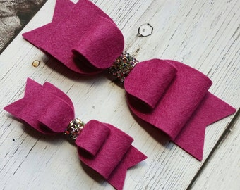 Mulberry · Standard OR Super Felt Hair Bow // Double Loop Bows // Baby Headbands // Toddler Hair Clips // Wool Felt Bows // Oversized Bows