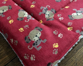 DOG crate mat pad pet bed FLANNEL  paw prints -  PROFITS Benefit Animal Rescue Group