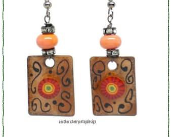 Earthy earrings - Orange brown and black enamel earrings - peach yellow red lime green bling orange copper lampwork
