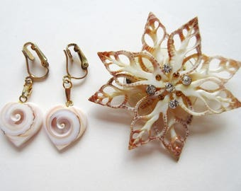 Carved Shell Heart Clip On Earrings & Sliced Shell Brooch, Vintage 60s Hawaii