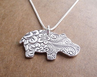 Hippo Necklace, Flowered Hippo, Fine Silver, Sterling Silver Chain, Made To Order