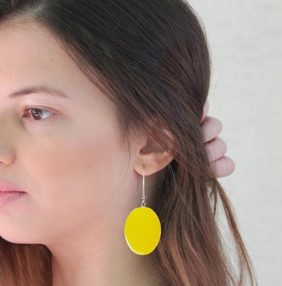 Yellow earrings, statement earrings, yellow resin earrings, modern minimalist, pop color block jewelry, big oval lightweight earrings