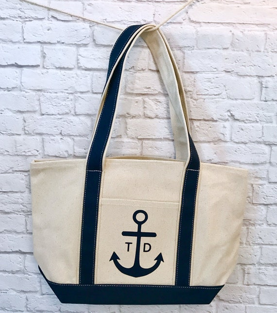Large Anchor Tote Bag With Initials Monogram Navy and Natural Canvas