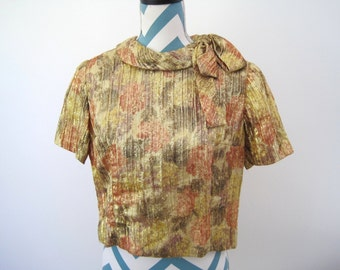 Vintage 1960s Crop Top with Bow Collar - Abstract Floral Print with Gold Lame Metallic Pink Yellow Green Fall Top - Special Occasion Mad Men
