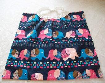 elastic neckline (cotton printed with elephants) kids towel