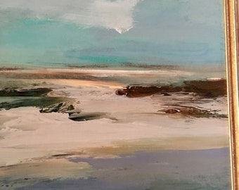 Shore- Beach Painting- Atmospheric Painting- Original- 12 x 12  approx. inch - including Frame - Fine Art