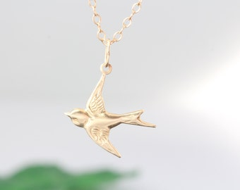 Gold Bird  Necklace . Flying Bird Necklace . Sparrow Necklace . Gold Flying Bird Necklace . Best Friend gift- Free-down Necklace