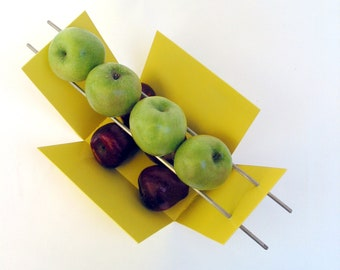 Modern Fruit Bowl - Green Apples / Red Apples - Welded steel and Stainless Steel - Sun Yellow spray enamel finish