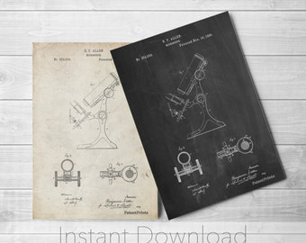 Antique Microscope Printables, Science Poster, Chemistry Art, Science Teacher, Pharmacy Gift, PP0132