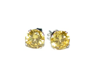 7mm Round Yellow Cubic Zirconia CZ Sterling Silver Stud Earrings - Citrine Cubic Zirconia CZ Post-Style Round Silver Earrings