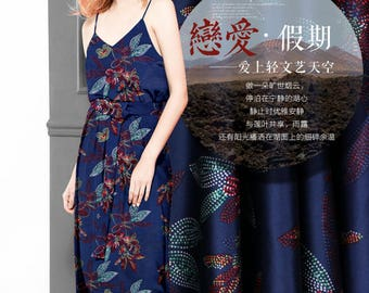 Art Flower Floral Print Navy Blue Stretch Silk Satin Fabric Width 46 inch